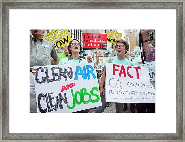 Rally To Support Coal Burning Limits Framed Print
