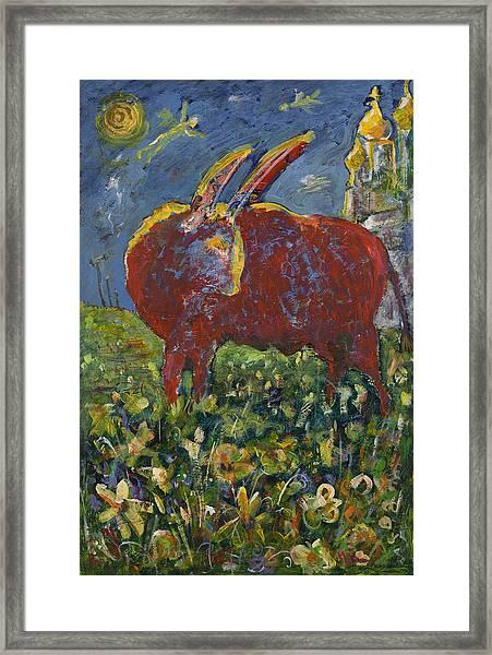 Red Bull In The Flower Field Framed Print