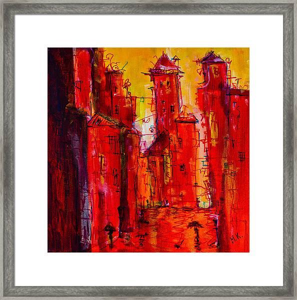 Red Rainy City 2 Framed Print