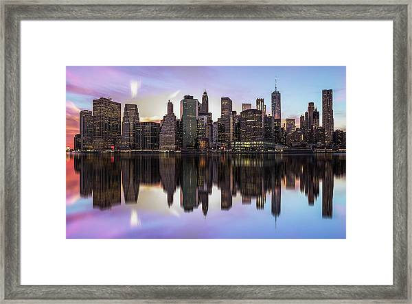 Reflections Of A Sleepless City Framed Print