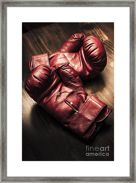 Retro Red Boxing Gloves On Wooden Training Bench Framed Print