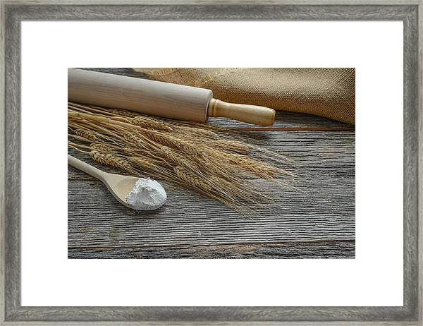 Rolling Pin With Wheat And Spoon With Flour Framed Print
