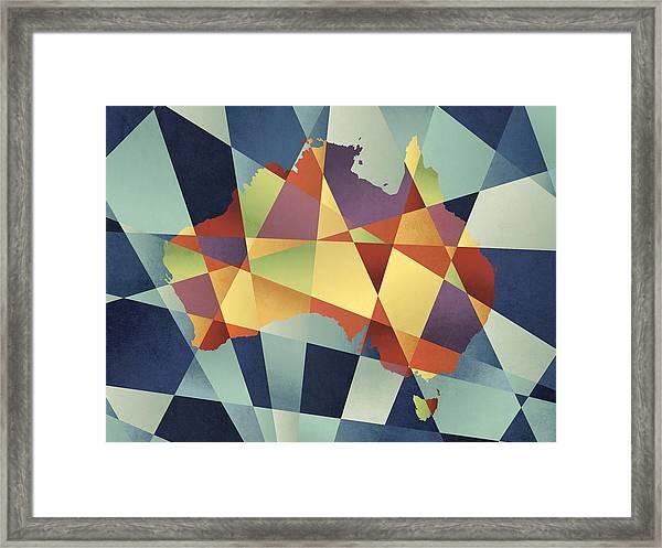 Australia Geometric Retro Map Framed Print