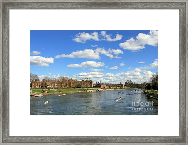 Rowing On The Thames At Hampton Court Framed Print