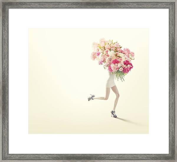 Running Women With Giant Bunch Of Flowers Framed Print by Vizerskaya