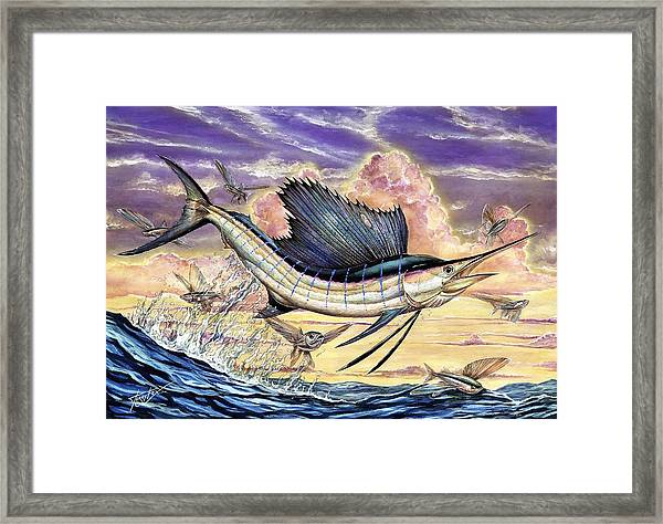 Sailfish And Flying Fish In The Sunset Framed Print