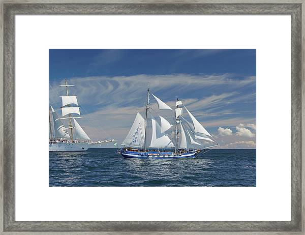 Sailing Ships On Baltic Sea, Rostock Framed Print