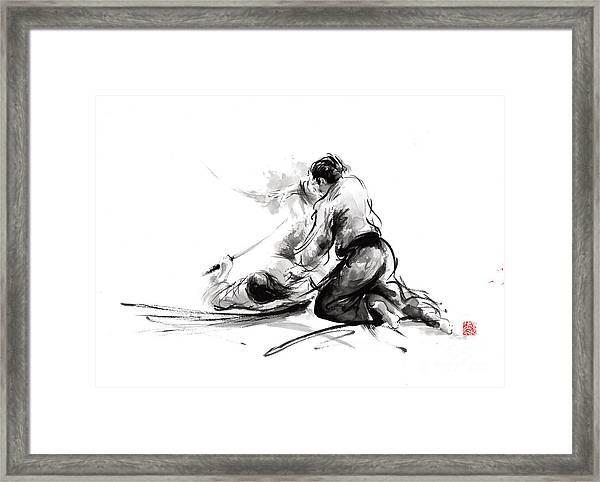 Samurai Sword Bushido Katana Martial Arts Budo Sumi-e Original Ink Painting Artwork Framed Print