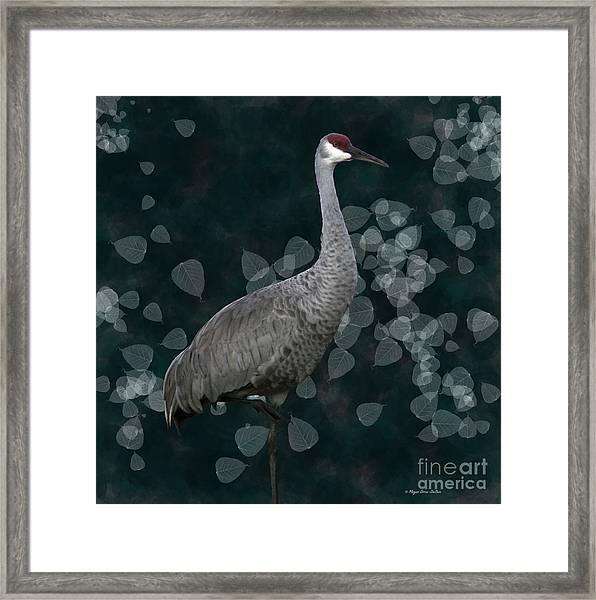 Sandhill Crane On Leaves Framed Print