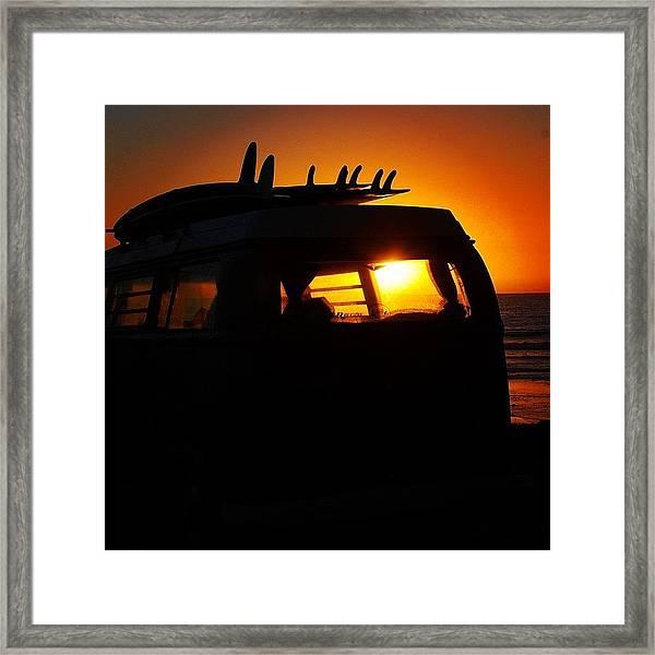 Vw Bus At Sunset Framed Print