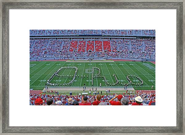 27w115 Script Ohio In Osu Stadium Framed Print