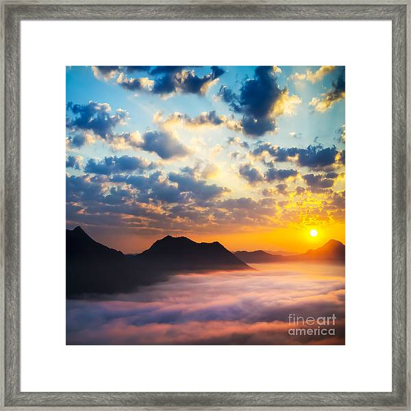 Sea Of Clouds On Sunrise With Ray Lighting Framed Print