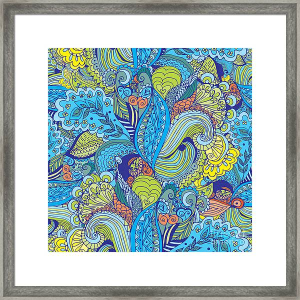 Seamless Abstract Hand-drawn Floral Framed Print