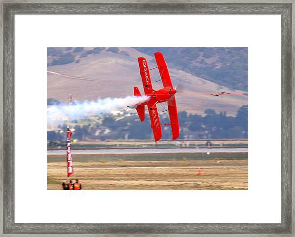 Sean Tucker Cuts The Ribbon In His Oracle Challenger At Salinas Ksns Airshow Framed Print by John King