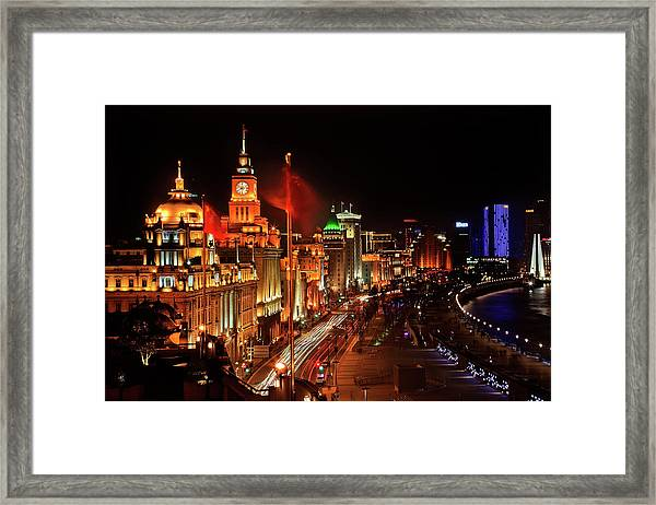 Shanghai, China Bund At Night Cars Framed Print by William Perry