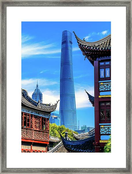 Shanghai Tower, Second Tallest Building Framed Print by William Perry