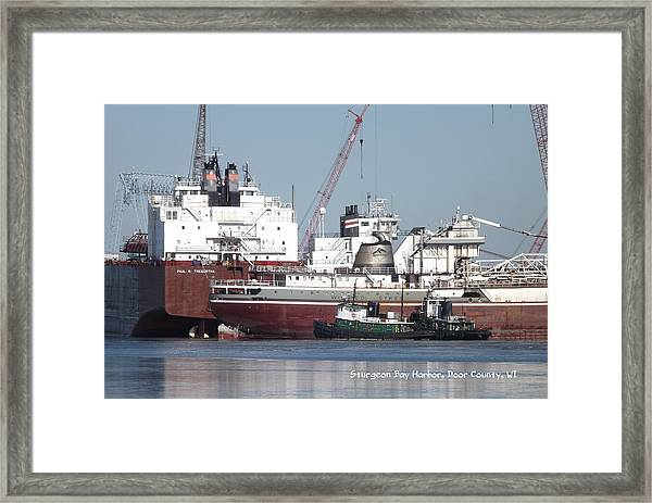 Ships In Harbor Framed Print