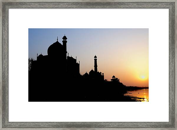 Silhouette Of The Taj Mahal At Sunset Framed Print