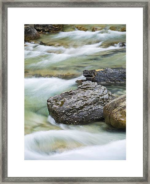 Silk And Stone Johnston Canyon Framed Print by Richard Berry