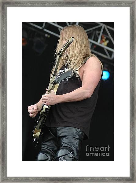 Slayer- Jeff Hanneman Framed Print by Jenny Potter