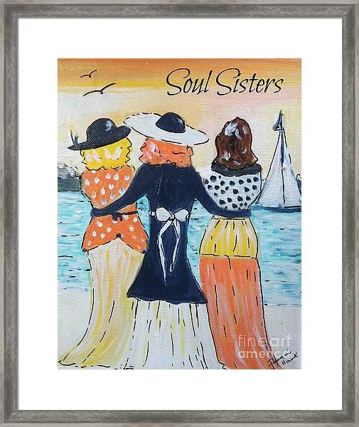 Soul Sisters At Sunset Framed Print