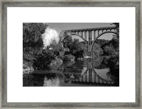 Steam In The Valley Nkp 765 Black And White Framed Print