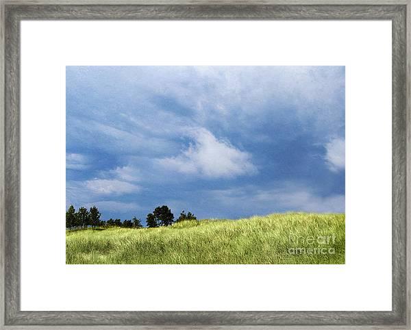 Storm Over Grassy Dune Framed Print