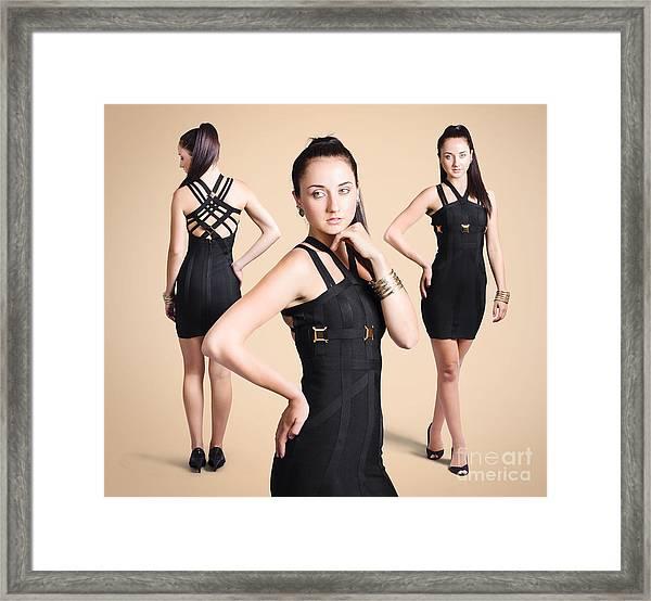 Stylish Girl Fashion Portrait On Tanned Background Framed Print