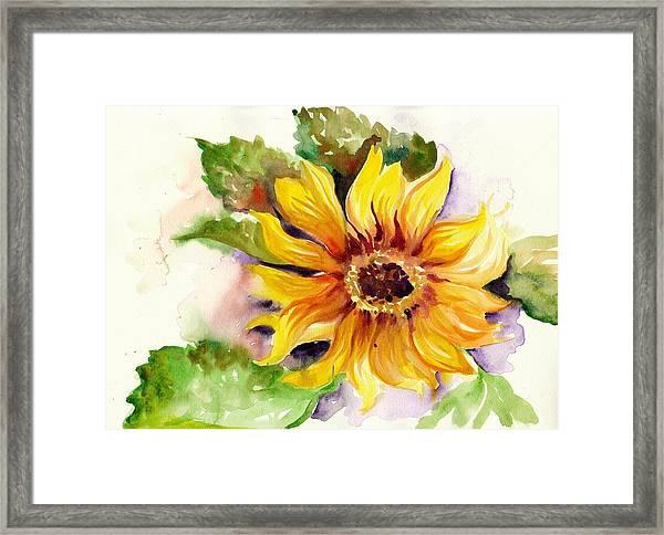 Sunflower Watercolor Framed Print