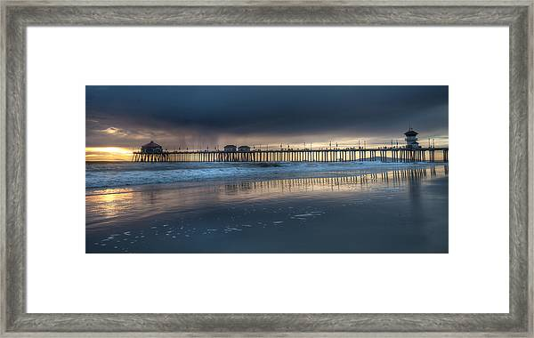 Approaching Storm Huntington Beach Pier Framed Print