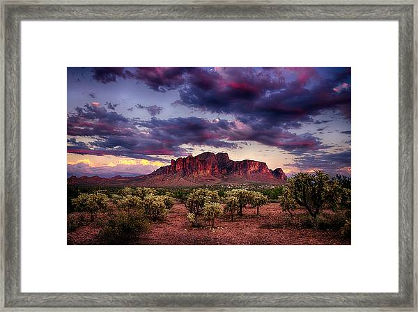 Sunset At The Superstitions  Framed Print