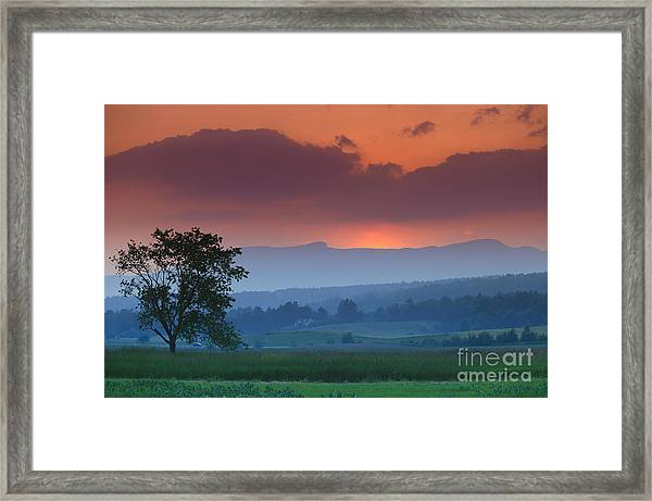 Sunset Over Mt. Mansfield In Stowe Vermont Framed Print