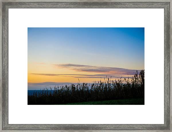 Sunset Over The Field Framed Print