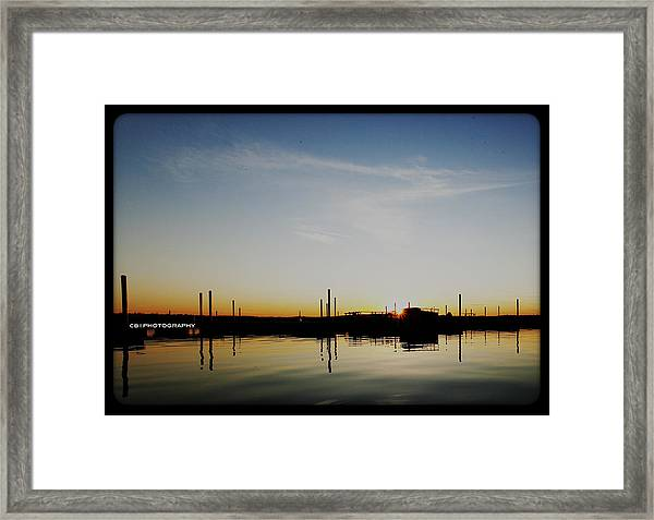 Sunset Over The Marina. Framed Print