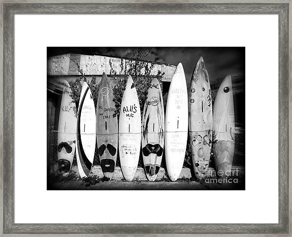 Surf Board Fence Maui Hawaii Framed Print