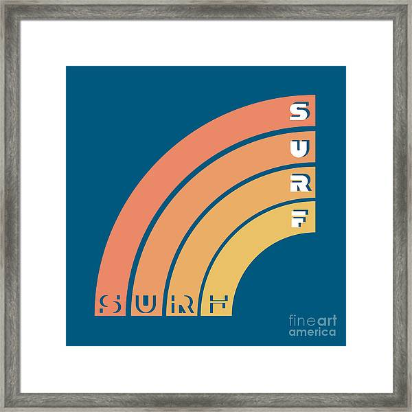Surf Typography, T-shirt Graphics Framed Print