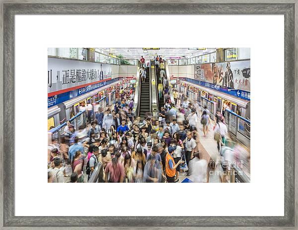 Taipei Metro Rush Framed Print