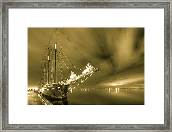 Tall Ship In The Lights Of Toronto Framed Print