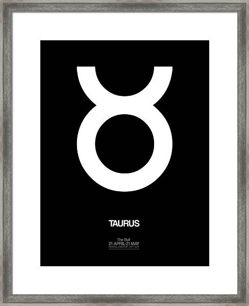 Taurus Zodiac Sign White Framed Print