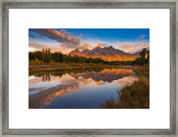 Teton Morning Mirror Framed Print by Joseph Rossbach
