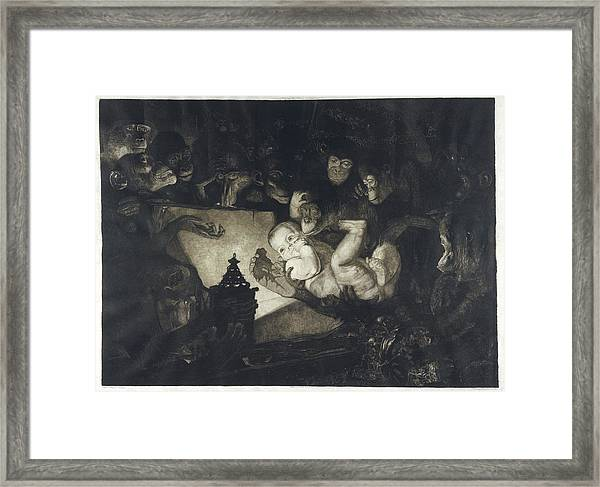 The Advent Of The First Human  Baby Framed Print
