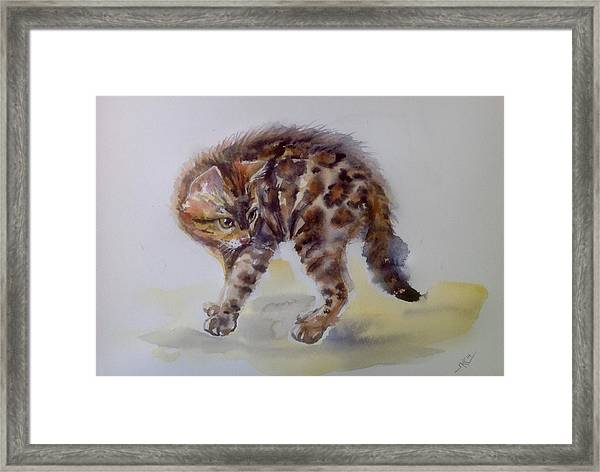 Framed Print featuring the painting The Cat by Katerina Kovatcheva