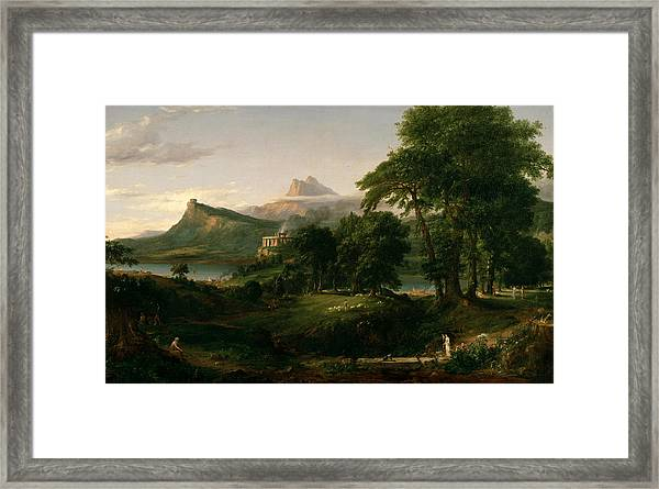 The Course Of Empire The Arcadian Or Pastoral State Framed Print