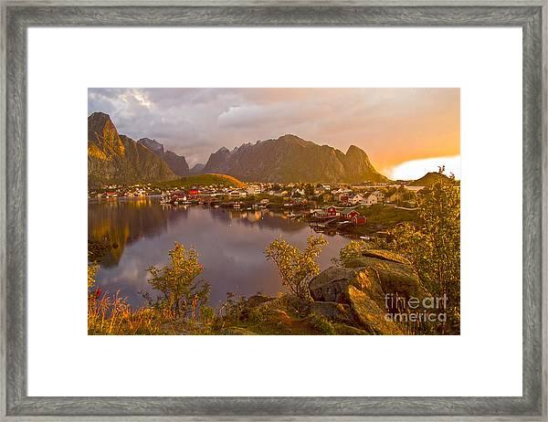 The Day Begins In Reine Framed Print