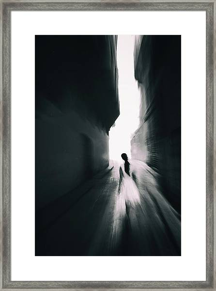 The Girl With White Dress Framed Print