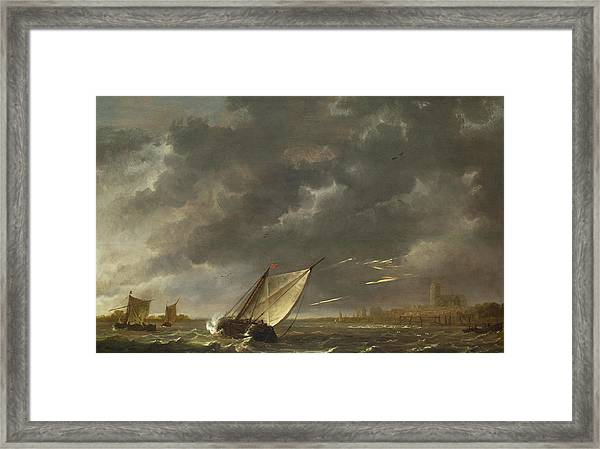 The Maas At Dordrecht In A Storm Framed Print