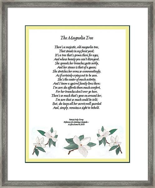 The Magnolia Tree - Poetry Framed Print by Patricia Neely-Dorsey