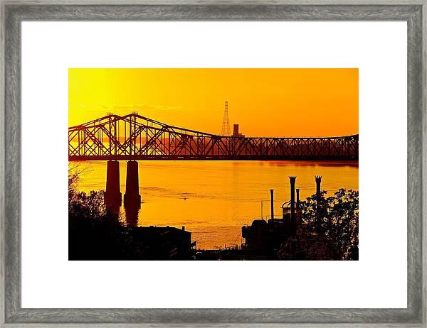 The Mississippi River Bridge At Natchez At Sunset.  Framed Print