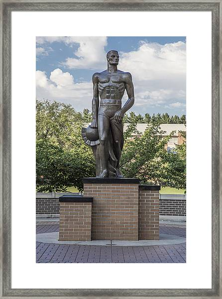 The Spartan Statue At Msu Framed Print