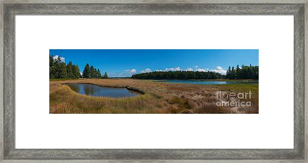 Thompson Island In Maine Panorama Framed Print